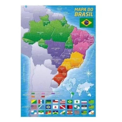 Puzzle 200 peças Mapa do Brasil - Grow - Sapeca Brinquedos