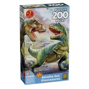Quebra cabeça 200 peças batalha dos dinossauros - Grow - Sapeca Brinquedos