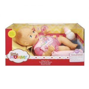 Boneca Bebê - Little Mommy - Recém Nascido - Bebê faz Xixi - Macacão Rosa com Flores - Mattel - Sapeca Brinquedos